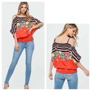 Tops - Off Shoulder Floral and Stripe Woven Top